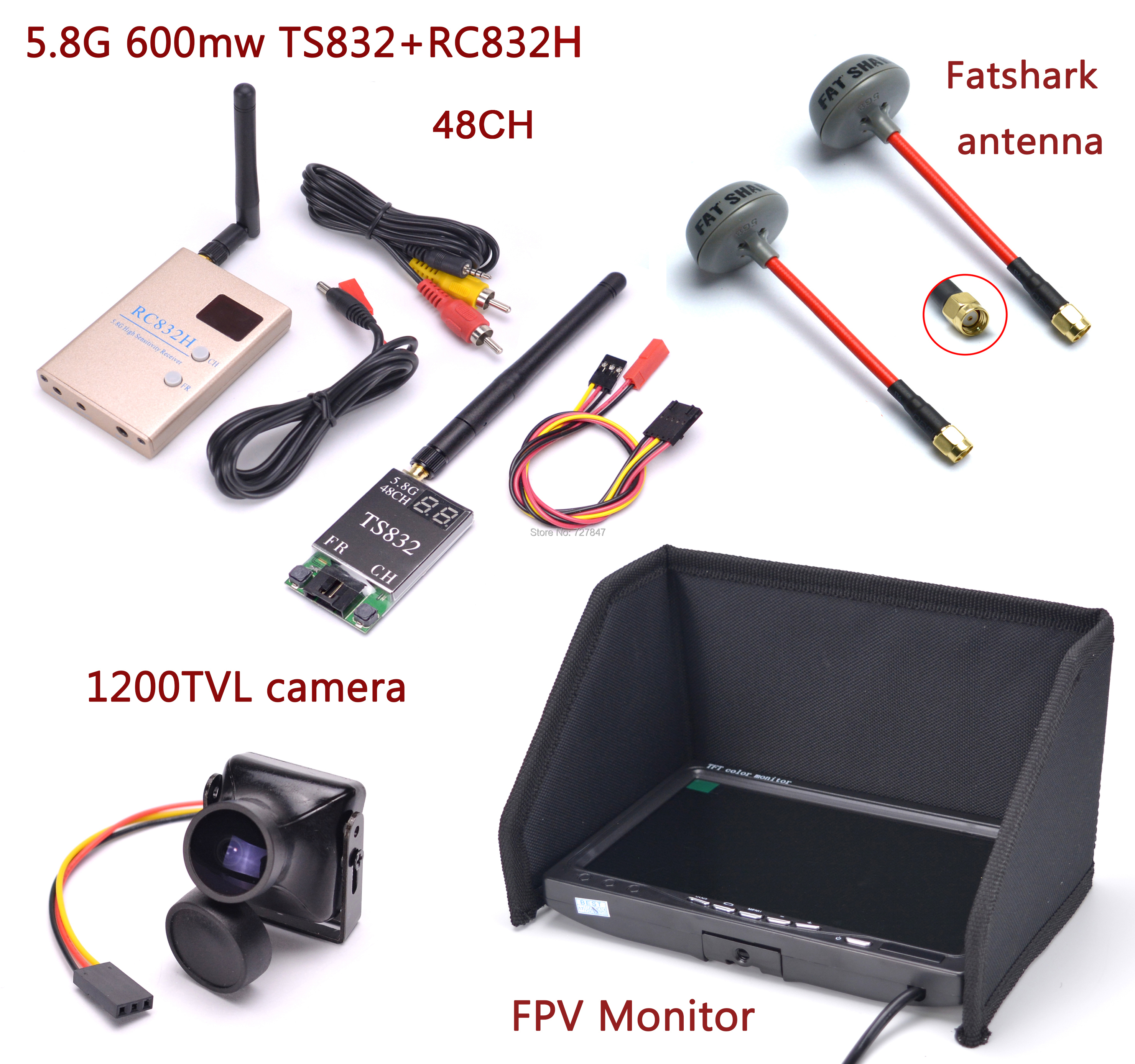 FPV Kit Combo System 1200TVL Camera 5 8Ghz 600mw 48CH TS832 RC832S RC832 IPS 7 inch