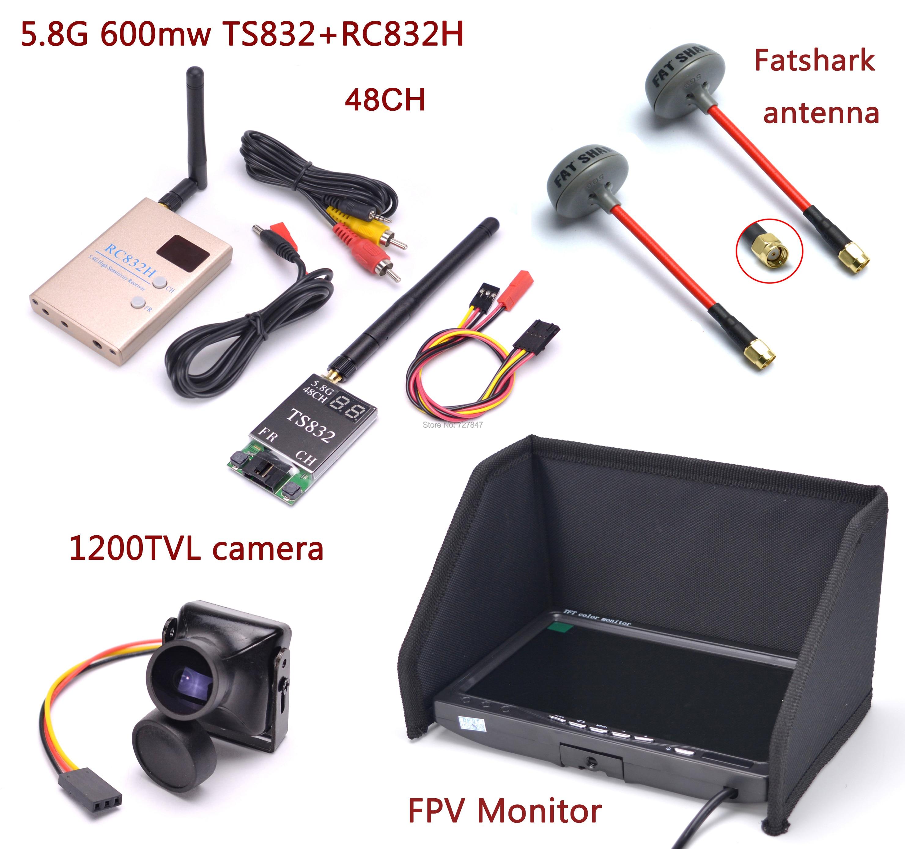 FPV Kit Combo système 1200TVL caméra + 5.8 Ghz 600 mw 48CH TS832 RC832S RC832 + 7 pouces LCD 1024x600 moniteur + antenne