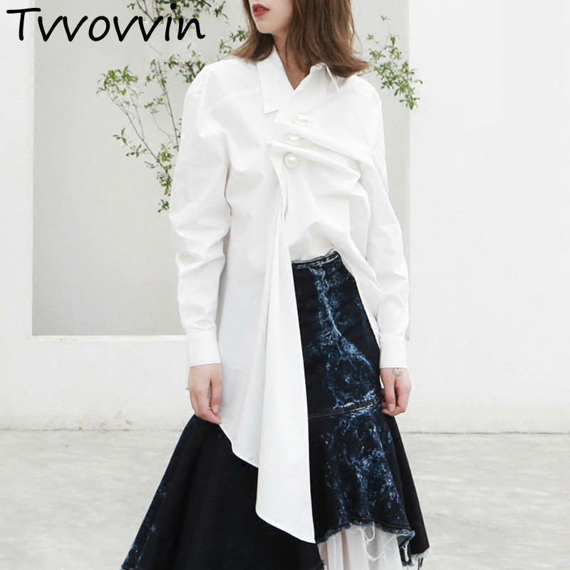 TVVOVVIN Pearls Shirt Female Lapel Collar Ruched Patchwork Irregular White Long Blouse 2019 Spring OL Clothing