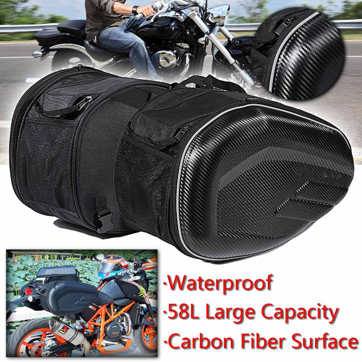 9662796a1b 58L Motorcycle Waterproof Racing Race Moto Helmet Travel Bags Suitcase  Saddlebags and Raincoat for Motorbike Tool