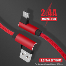 2.4A fast 90 Degree Micro usb cable Fast charging For Huawei Samsung Xiaomi Mi Phone Game Right angle Mobile phone