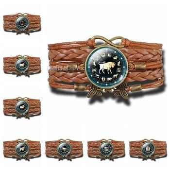 12 constelación acuario Piscis Aries signos zodiacales redondo multicapa tejido de cuero domo de vidrio para pulsera colgante hombre mujer regalo