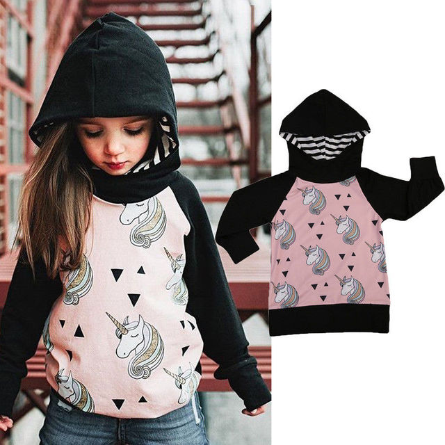 Pudcoco 2019 Brand New Unicorn Child Kid Girls Hooded Coat Autumn Jacket Casual Outerwear 1-5Y