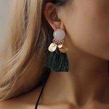 Women Gold Trendy Bohemia Geometric Round White Stone Tassel Hanging Dangle Drop Earrings