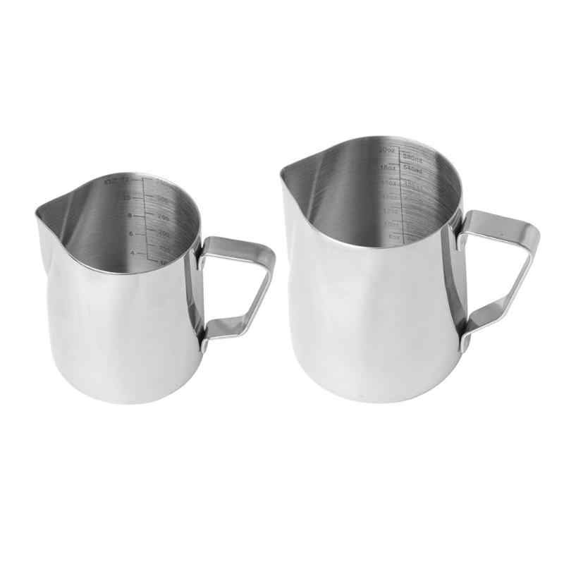 Stainless Steel Frothing Pitcher Pull Flower Cup Coffee Milk Mugs Milk Frother with Scale Latte Art Kitchen Tool Coffee Milk Cup