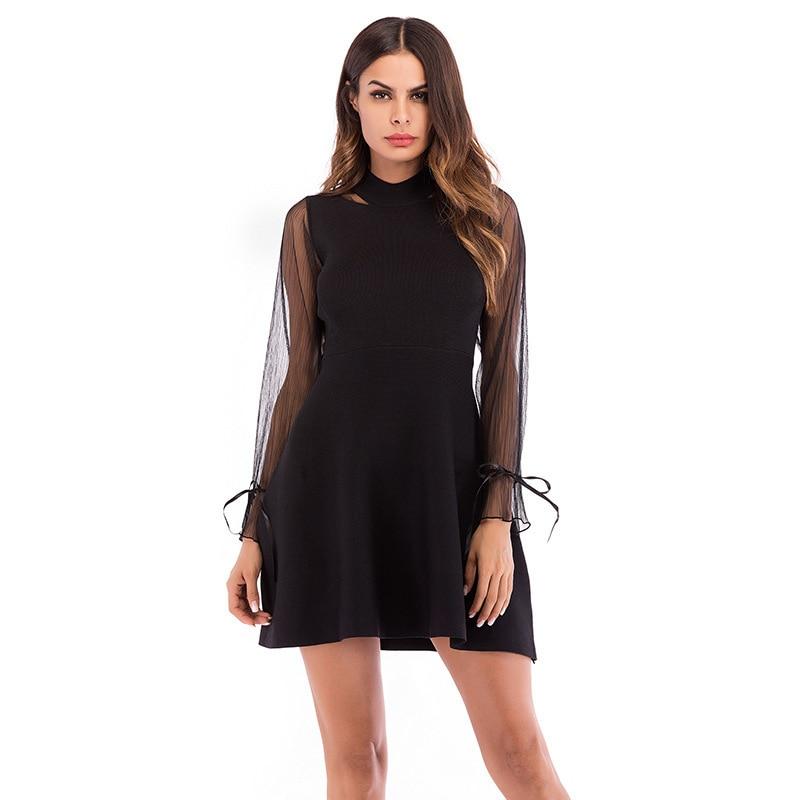 SARSALLYA nouveau motif robe mode gaze Split Joint tricot solide couleur Long fonds A ligne