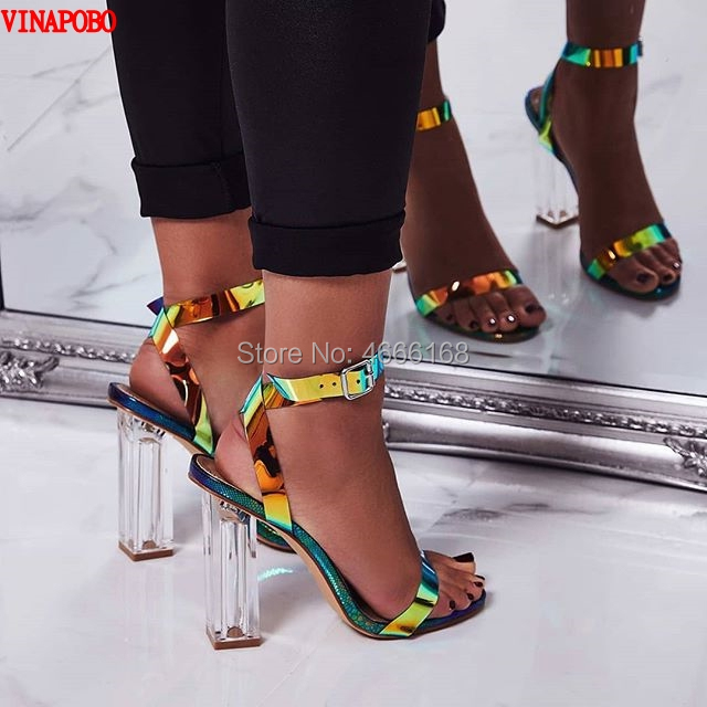 be19e0f8a10 Vinapobo 2019 Summer Transparent Round clear High Heels Shoes Women Sandals  Peep Toe Sexy Party Female Ladies Woman Sandalias