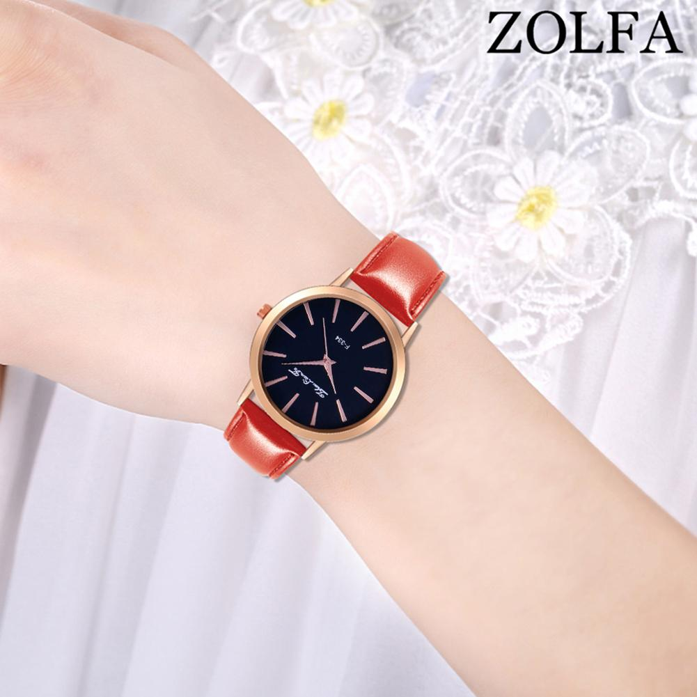 Women Watches For ZOLFA Exquisite Female Watch Leather Strap Fashionable Casual Quartz Ladies Watch montre femme