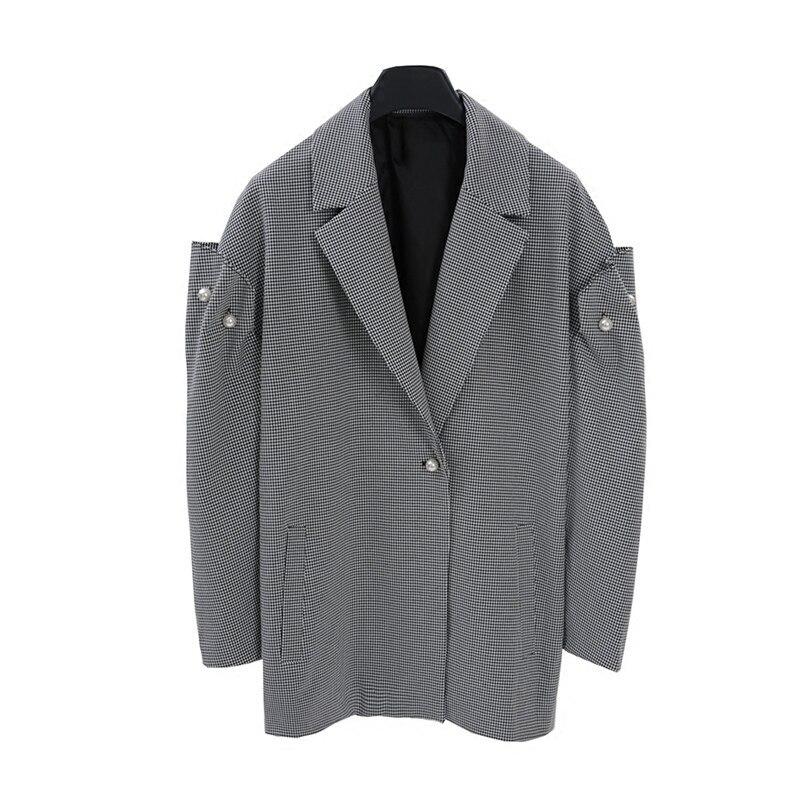 Kadın Giyim'ten Basic Ceketler'de LANMREM 2018 Yeni Sonbahar Moda Gelgit Ekose Ceket turn aşağı Yaka İmitasyon İnci Kat Tarzı Kişilik Ceket Kadın Ceket SA925'da  Grup 1