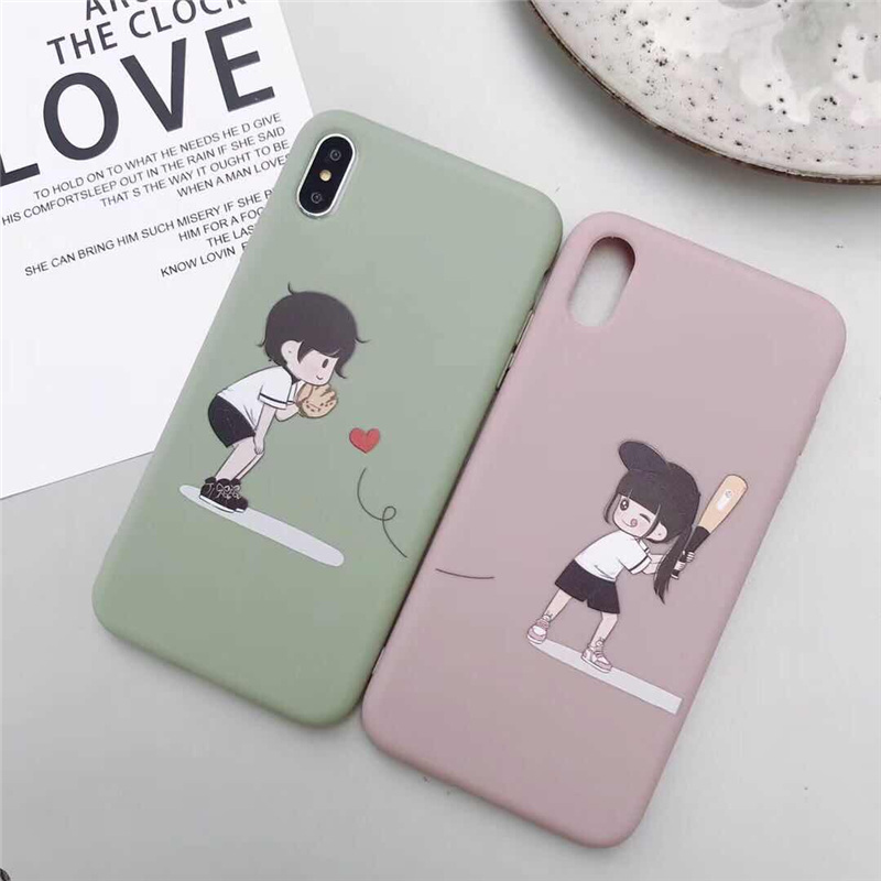 c48f4123be Ottwn Creative Back Cover For iPhone 6 6s 7 8 Plus Soft TPU Cartoon Couples  Girl And Boy Phone Case For iPhone X XR XS Max Coque