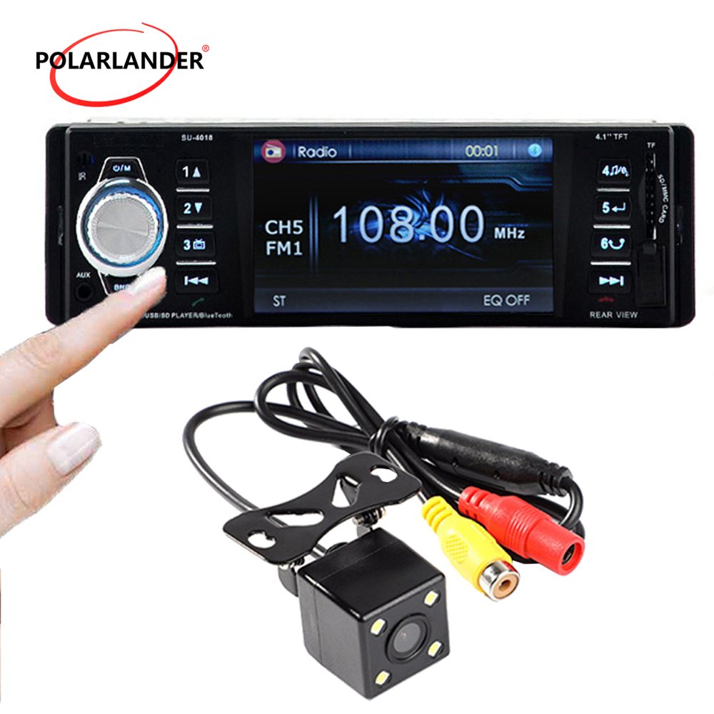 1 Din Car Radio Stereo MP4 Bluetooth Remote Control AUX USB TFT SD MMC AM FM EQ Autoradio radio cassette player auto tapes image