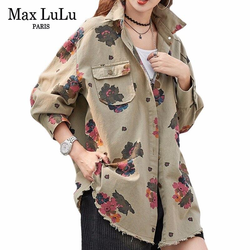 Max LuLu 2019 Printemps De Luxe Coréenne Style Dames Floral Longues Chemises Femmes Tops Et Blouses Coton Blusas Femme Vêtements Plus taille