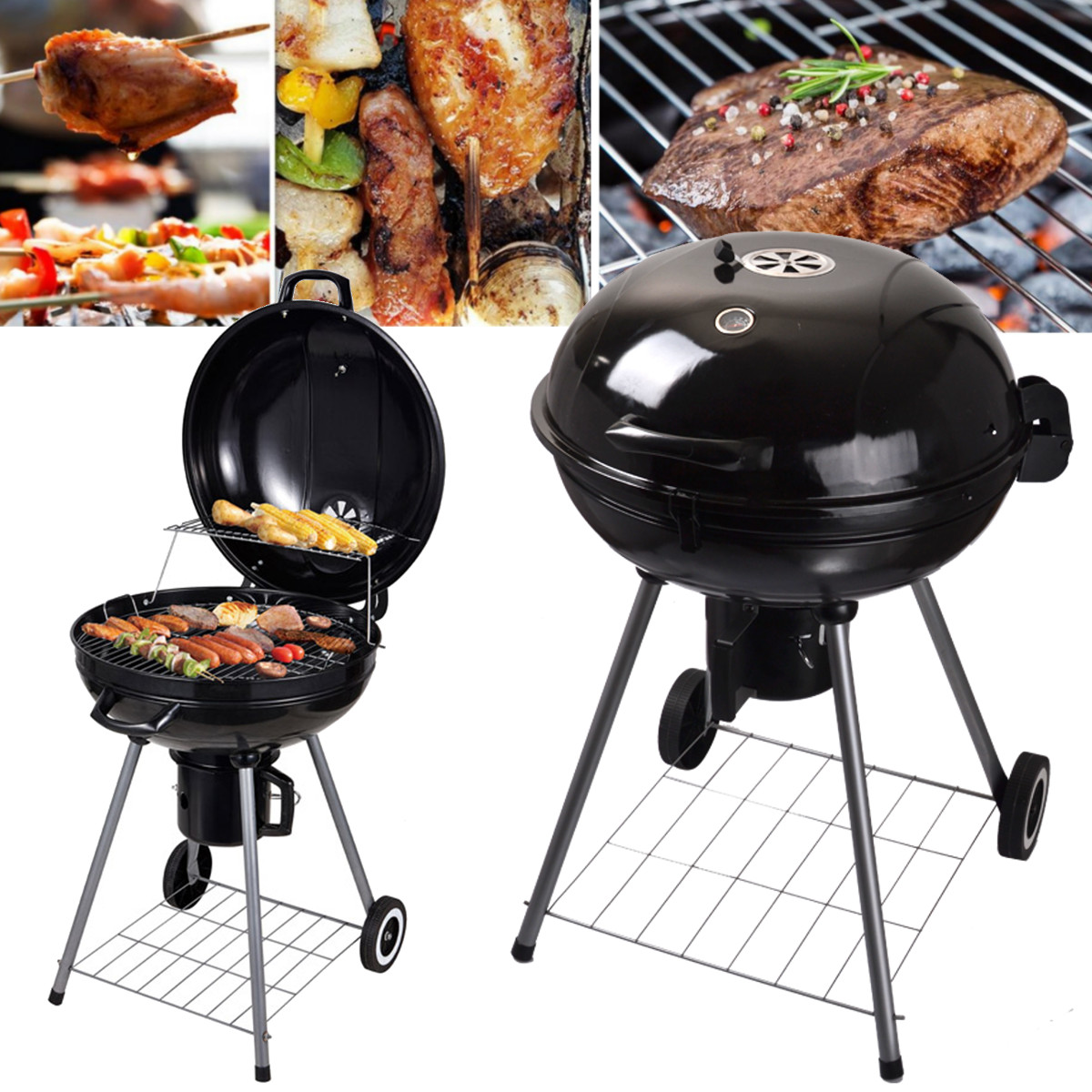 Здесь можно купить  Black Metal Portable Round BBQ Charcoal Grill Outdoor Tableware Barbecue Camping Picnic Cooker Camping Hiking Rotisserie Part  Спорт и развлечения