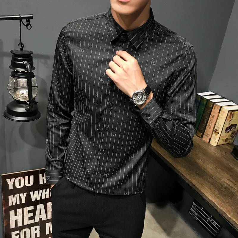 Fashion Casual Men's New Shirt Autumn And Winter M-3XL Striped Square Collar Temperament Solid Color Personality Slim Youth