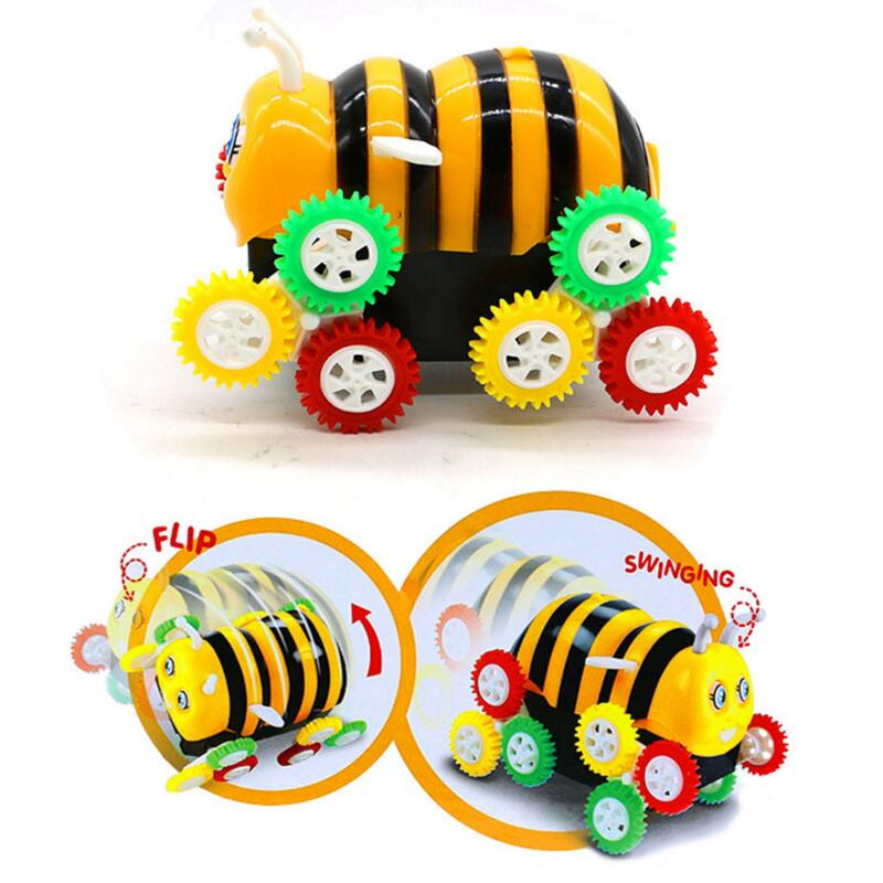 Kids Cute Funny Gifts Electric Colorful Cartoon 12 Wheels Bumblebee 360 Degree Tumbling Car Toy With New Box High Quality