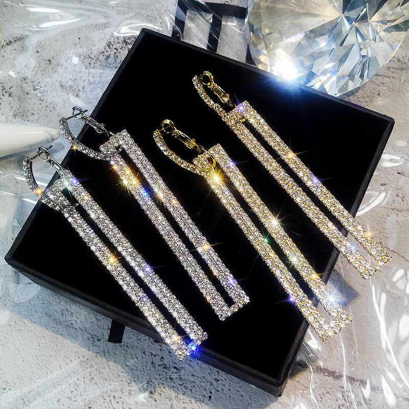 ac8eb9e00 ... FYUAN Fashion Long Geometric Drop Earrings Luxury Gold Silver Color  Rectangle Rhinestone Earring for Women Party ...