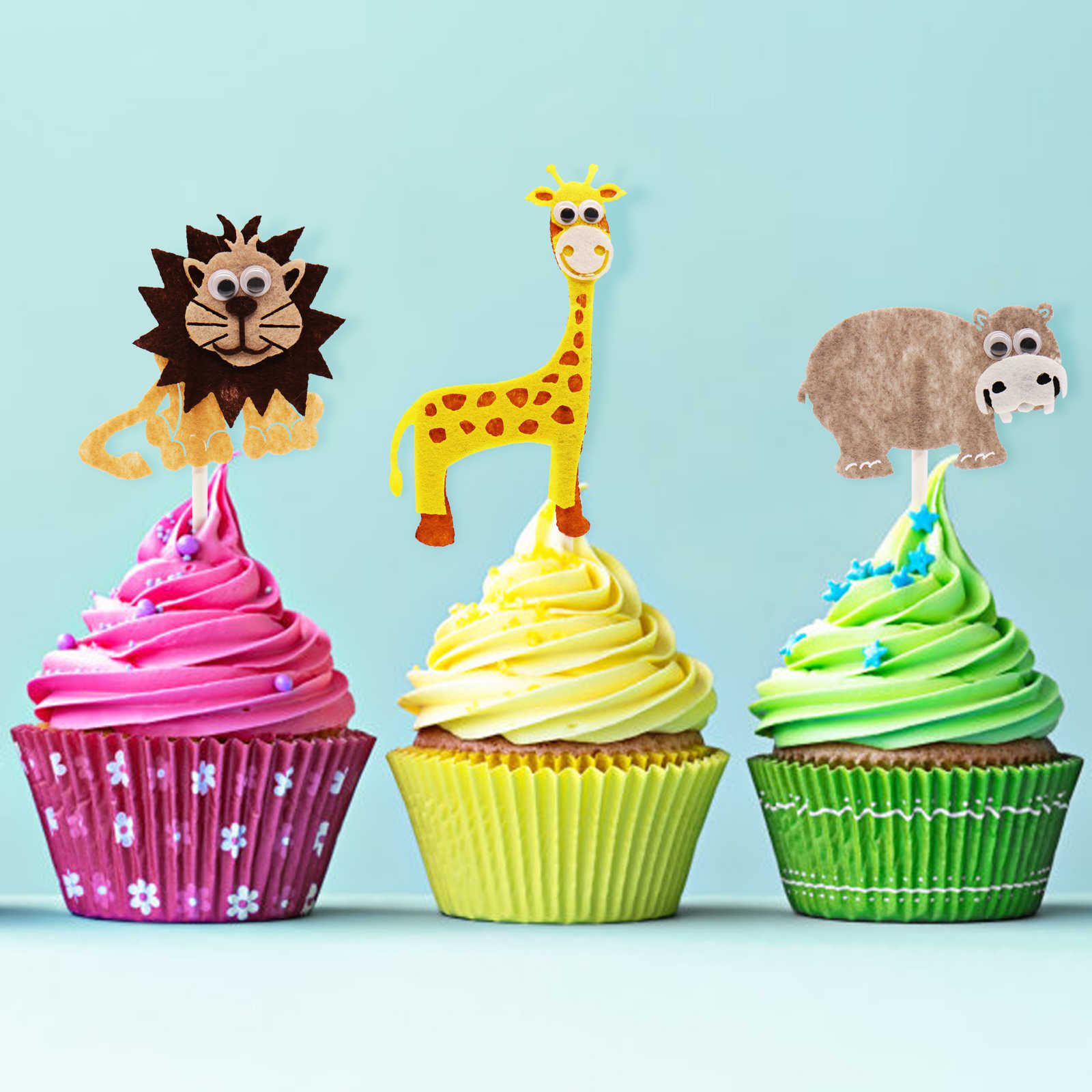 1pcs Birthday Cake Card Animal Topper Kid Party Wild Jungle Safari Supplies