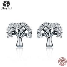 Jiayiqi Genuine 100% 925 Sterling Silver Tree Of Life Zircon Earrings Charm For Women Jewelry Brincos
