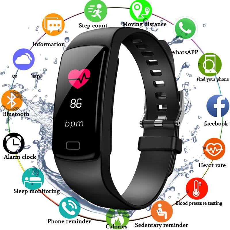 6e36955132d4 2019 rastreador de ejercicios Monitor del ritmo cardíaco de la banda  inteligente la medición de la presión arterial impermeable IP67 inteligente  ...
