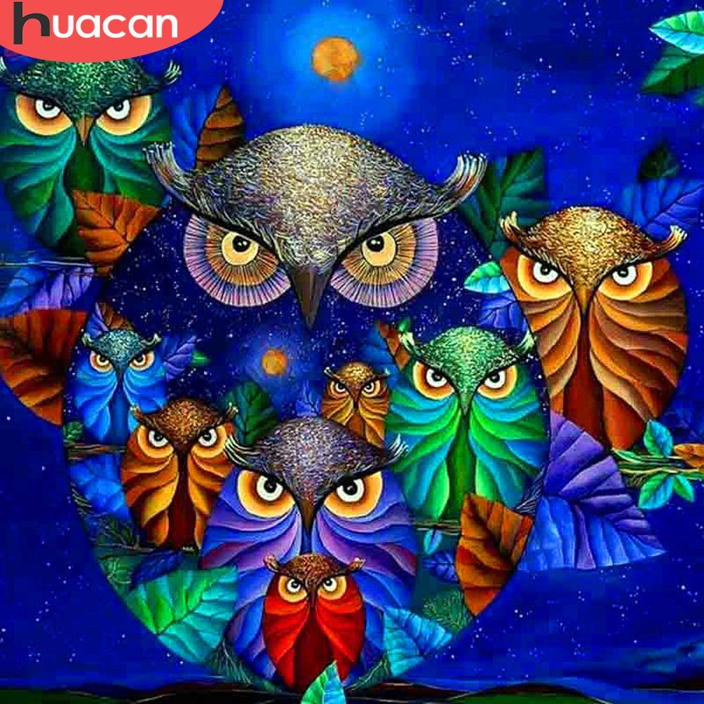 HUACAN Diamond Embroidery Full Display Animals Mosaic Diamond Owl Diamond Painting New S ...