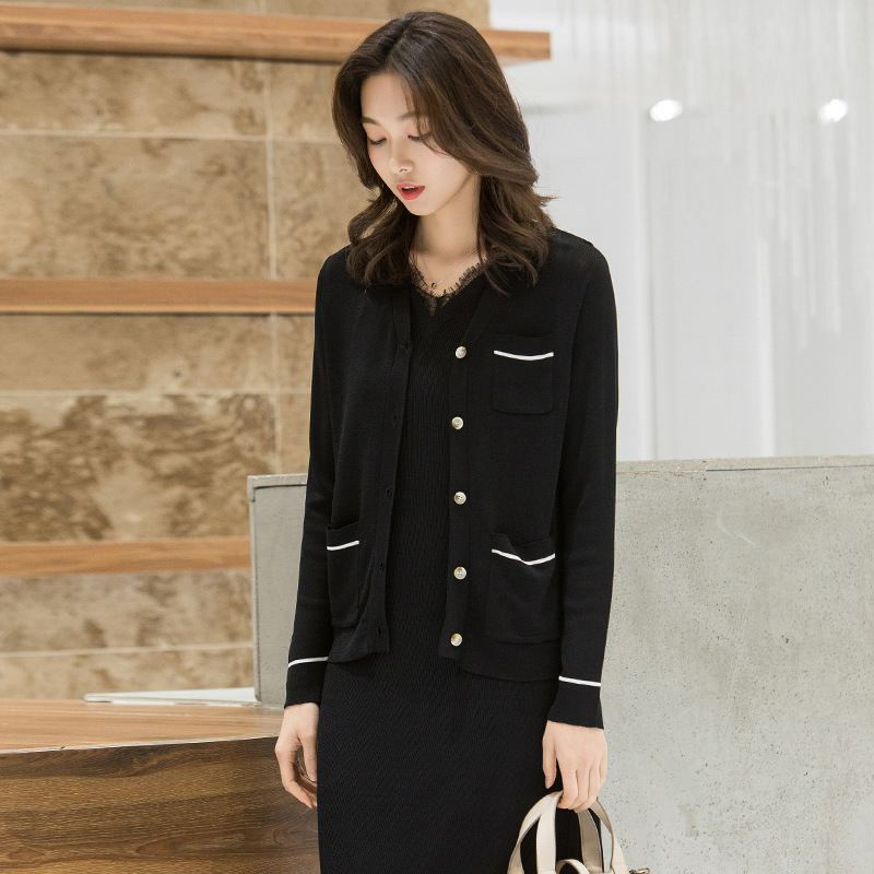 2019 Spring New arrival Knitting loose sweater coat cardigan black And white pocket sweater outside knitted coat I6262