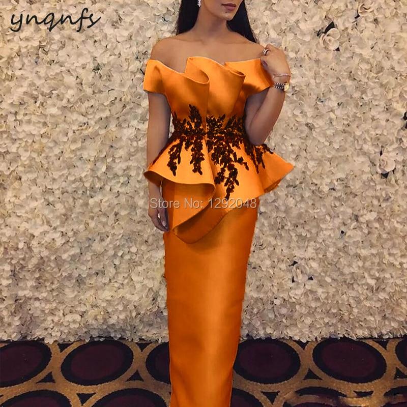 YNQNFS M26 Chic Off Shoulder Ruffles Orange Mother Of The Bride Dresses Groom Mother Gown Elegant Long Vestido De Festa Longo