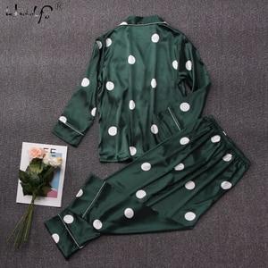 Image 2 - Polka Dot baskı Pijama seti 2019 bahar Pijama ipek uzun kollu Pijama setleri kadınlar için pantolon ile saten baskı ev giyim Feminino