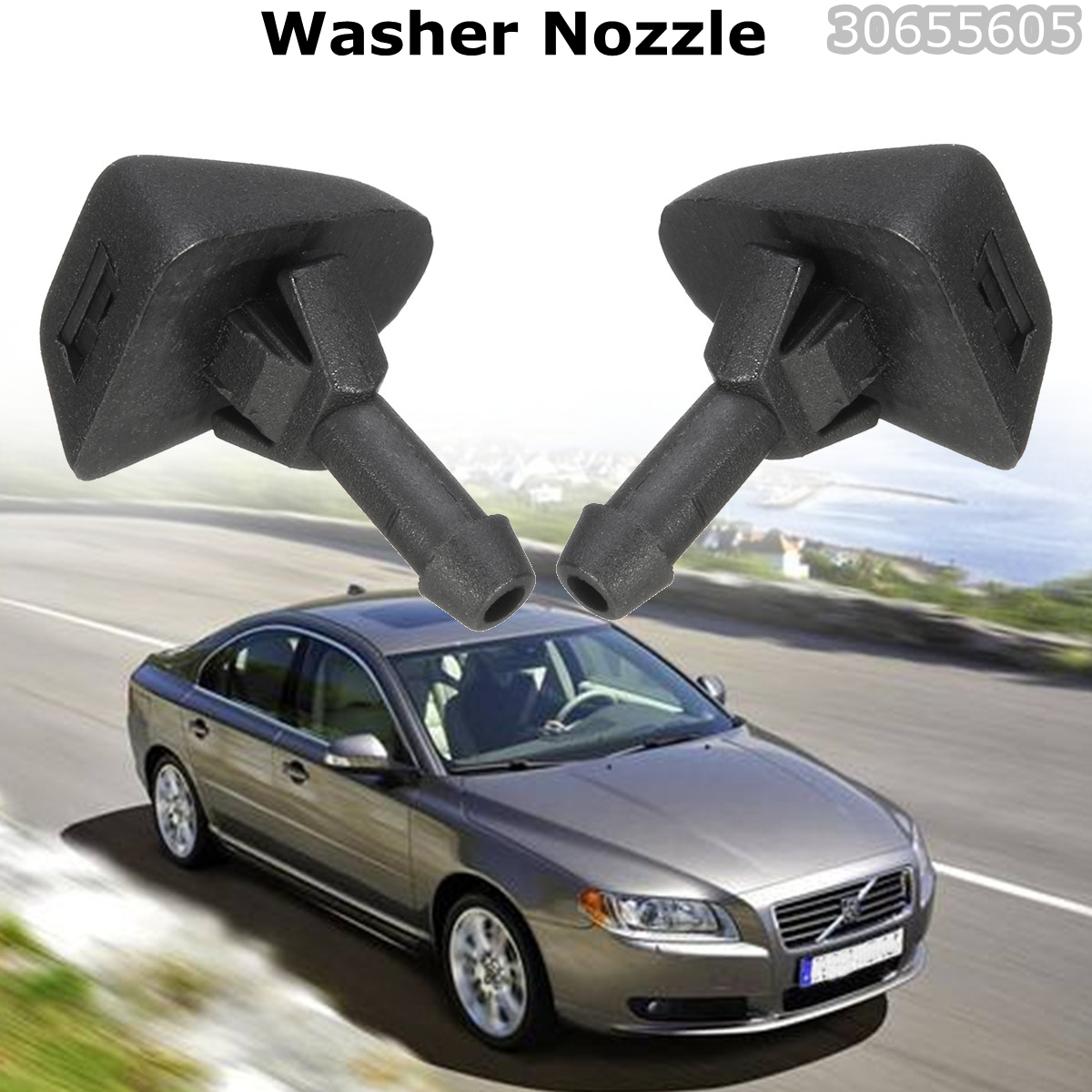One Pair Car Parts Windscreen Washer Nozzle Squirter Jet 30655605 Windshield Washer Nozzles For <font><b>Volvo</b></font> XC90 C30 C70 S40 image