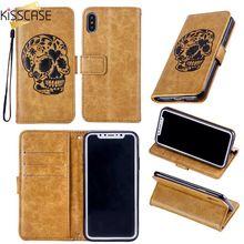 KISSCASE Skull Embossed Case For Huawei P8 Lite 2017 P9 P10 Plus Y3 Y5 Y6 2017 Nova 2 Y7 Prime Honor 9 Flip Wallet Phone Funda все цены