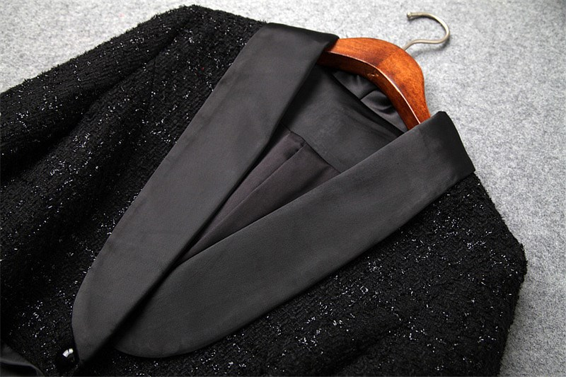 Tweed Ensemble Longues Et Mode Lady Noir Shorts Femmes Costume Pièces Printemps Laine Travail Vestes À Manches Bureau 2 En Txqz1T8H