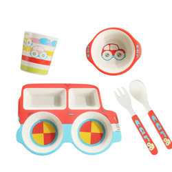 De fibra de bambú de los niños de dibujos animados de automóviles de servicio de alimentación del bebé defensa otoño tazón de arroz regalo de los niños vajilla personalizado
