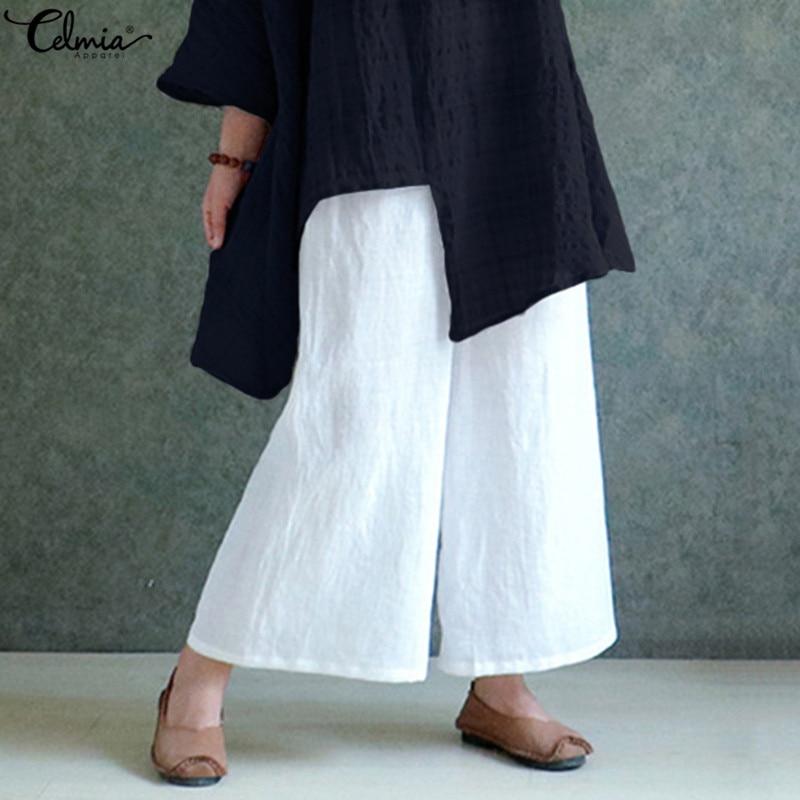 Celmia Vintage Women Wide Leg Pant 2019 Summer Casual Long Trousers Baggy Turnip Palazzo Elastic Waist White Pants Plus Size 5XL