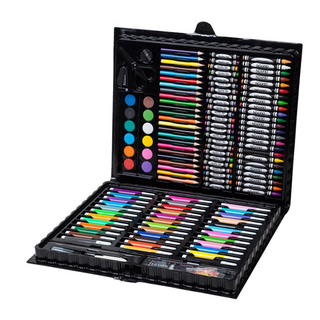 Childrens Art Stationery Crayons Watercolor Pen Painting Black Tool Set 150pcsChildrens Art Stationery Crayons Watercolor Pen Painting Black Tool Set 150pcs