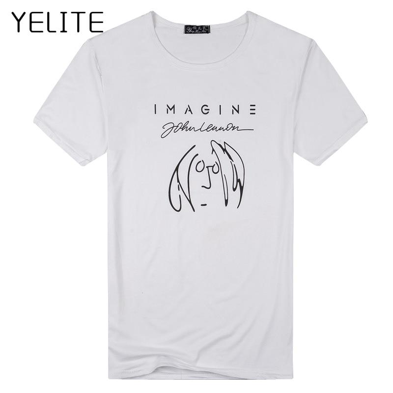 YELITE Fashion Men T Shirt New Imagine John Lennon Short Sleeve Men T Shirt O Neck  Casual Top Summer Fashion Tops Tees