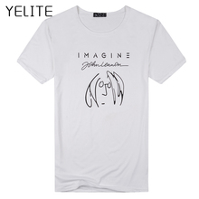 YELITE Fashion Men T Shirt New Imagine John Lennon Short Sle