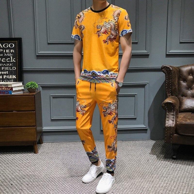 Summer Slim Fit 2-piece Set Harem Pants Men Casual Men Dragon Printing T Shirt Mens Joggers Hip Hop Men Clothes Short Mens