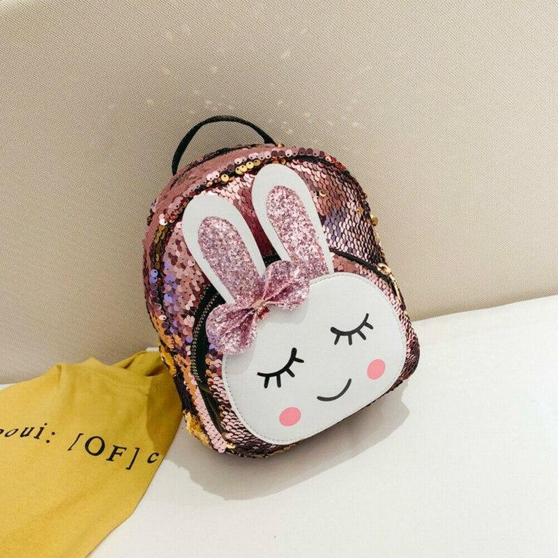 2019 New Fashion High Quality Children Girls Babbit Bag Faux Leather + Sequins School Bookbag Travel Backpack Rucksack Zipper