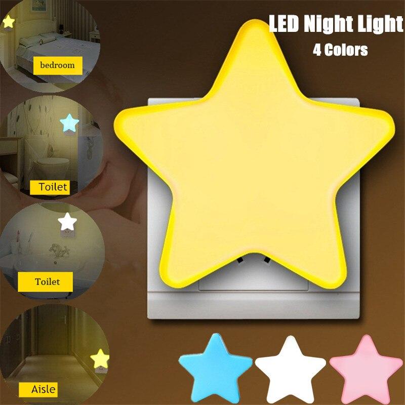 Mini Star Night Light Plug-in Wall Lamp Home Lighting Socket Lamp Children's Room Decoration EU/US Plug Light Control 4 Colors