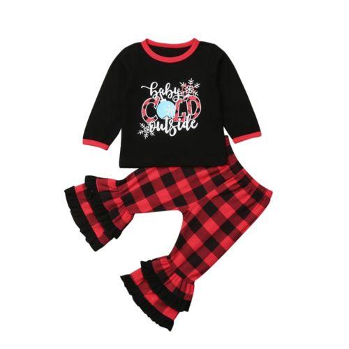 New 2019 Christmas Kids Baby Girl Xmas Santa Long Sleeve Tops Ruffle Flare Long Pants Outfit Set Clothes
