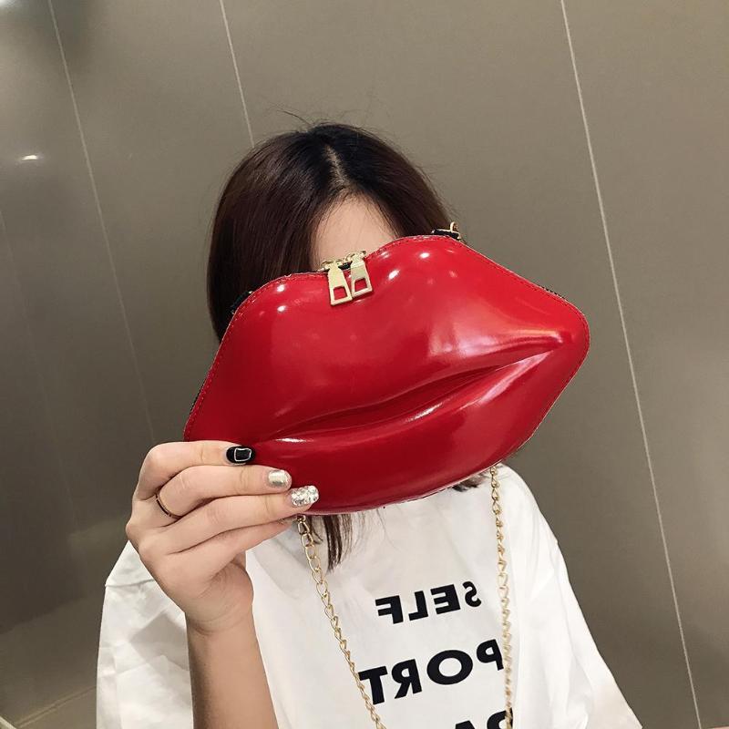 Lips Women PVC Crossbody Handbags Creative Designer Solid Color Chain Messenger Bags Shoulder Evening Party Clutch Female Bag
