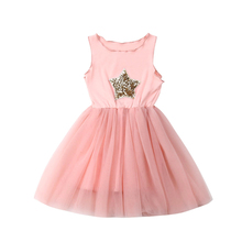 Kids Party Dresses For Girls Sequin Star Print Lace Mini Dress Princess Costume Girls Party Dress Kids Clothing Children Dresses 2018 new arrival children princess dress for party wedding flower girls dress sequin ruffles lace kids dresses for girls