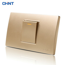 CHINT 118 Type Wall Switch NEW5D Steel Frame Champagne Hyun Golden One Position One Gang Two Way Switch Panel chint lighting switches 118 type switch panel new5d steel frame four position six gang two way switch panel