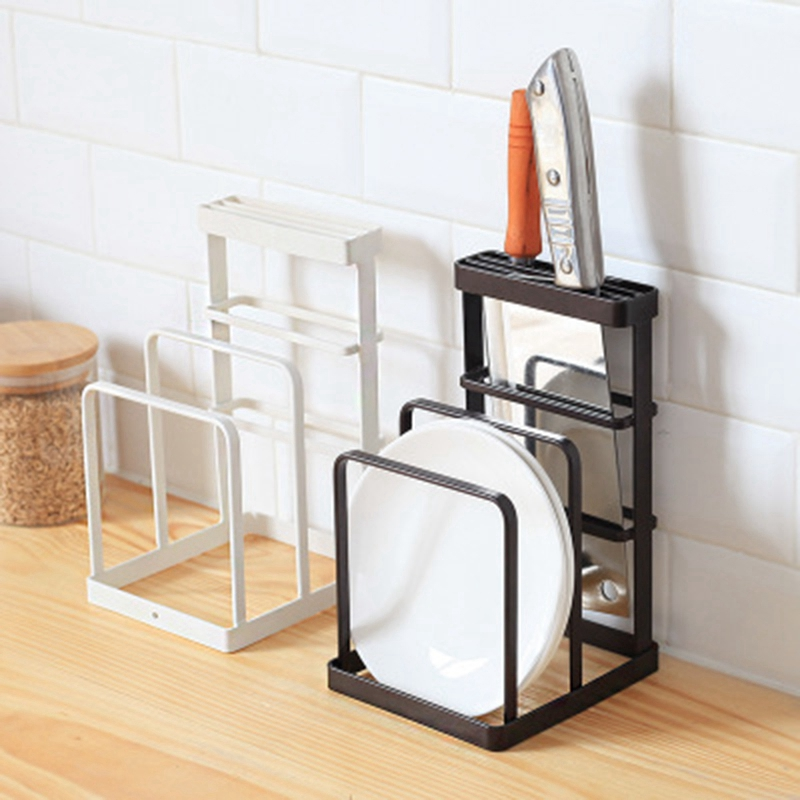 Image 4 - Wrought Iron Kitchen Tool Knife Storage Rack Drain Rack Kitchen Cutting Board Storage Rack Vertical Tool Holder-in Racks & Holders from Home & Garden