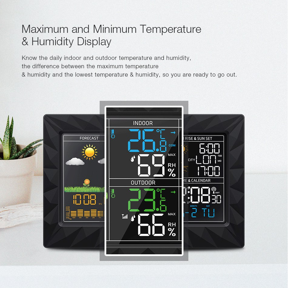 Colorful Large Screen Weather Station Sunrise Sunset Display Temperature Humidity Sensor Outdoor Indoor Thermometer Hygrometer