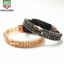 Wrist Strap For Mi Band 3 Diamonds Stainless Steel Chain Bands Xiaomi Watchband 2 Correas De Reloj