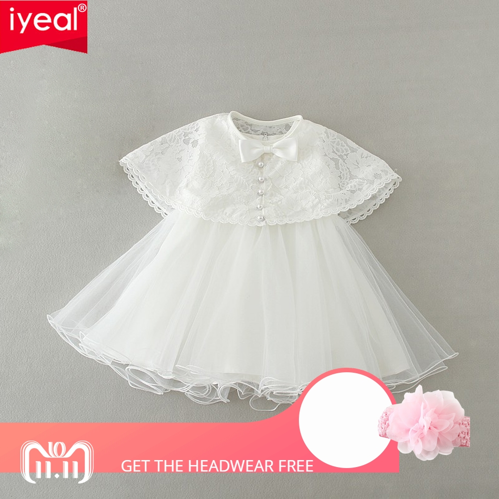IYEAL 2018 New Infant Baby Girls 1 year Birthday Dress With Lace Shawl Children Wedding Party Dresses Little Girl Clothes 0-2Y flower girls dresses for party and wedding little baby 1 year birthday baptism dress kids floral lace vestido infant bow clothes