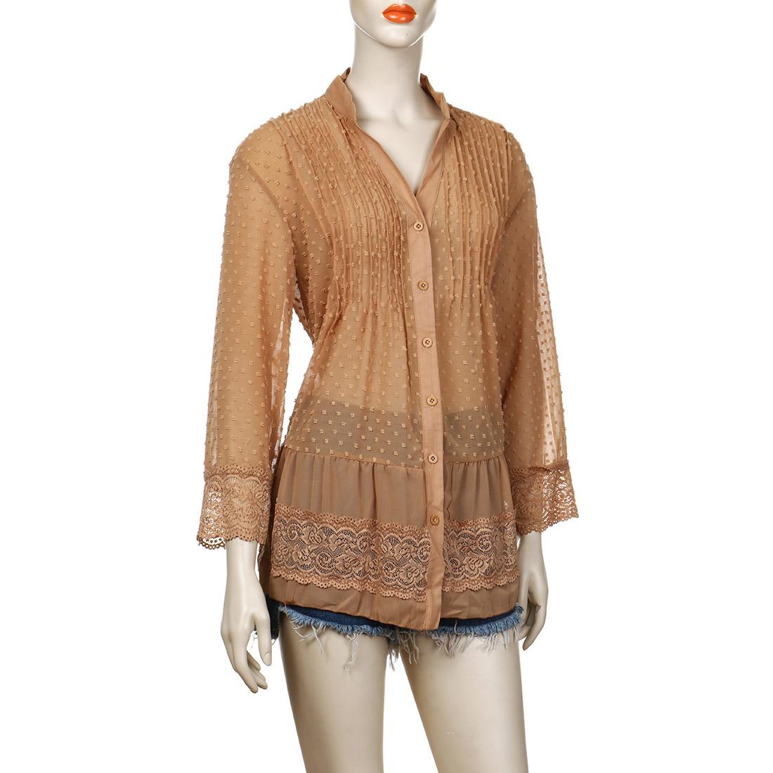 Image 5 - 2020 Large Size 4xl 5xl Summer Clothing Lace Shirts Loose Chiffon Dress Loose blouse shirt Sleeve V Neck Shirt Female BlousesBlouses & Shirts   -