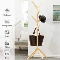 Solid Wood Coat Rack Free Standing With 8 Hooks Wood Tree Coat Rack Stand For Coats Hats Scarves Clothes Handbags 45x45x175cm