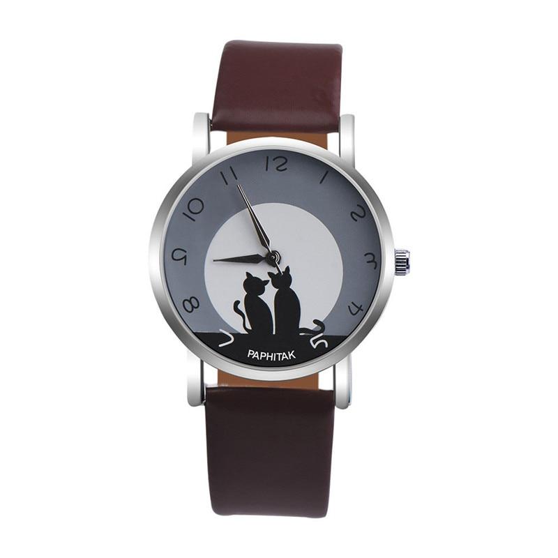 Women's watches casual watches Leather Cute Cat Pattern Leather Watch women Ladies quartz wristwatches montre femme #D 3