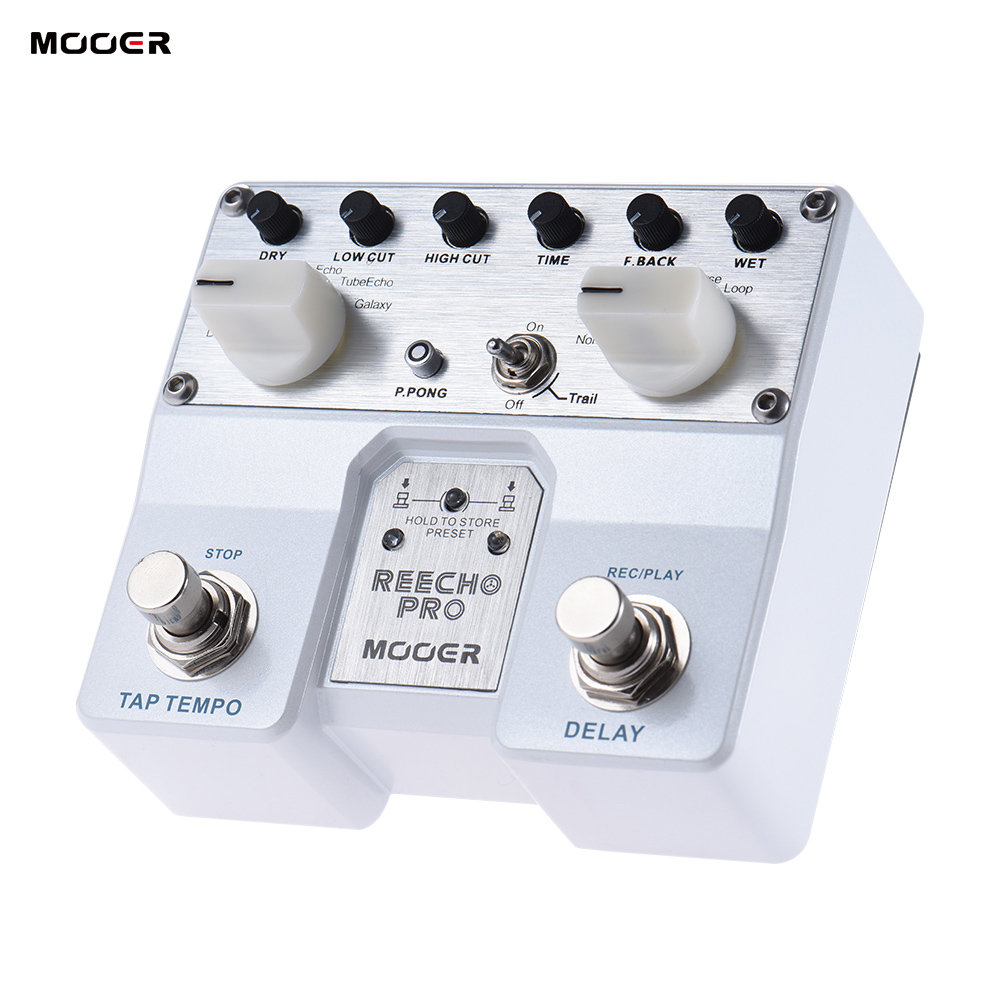 MOOER Reecho Pro Digital Delay Guitar Effect Pedal Twin Footswitch with 6 Delay Effects Loop Recording